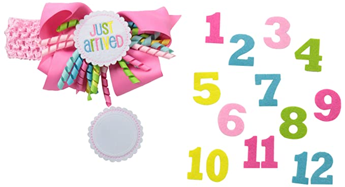 Amazon.com  Mud Pie Baby-Girls Newborn Monthly Milestone Headband ... 693720f6f19