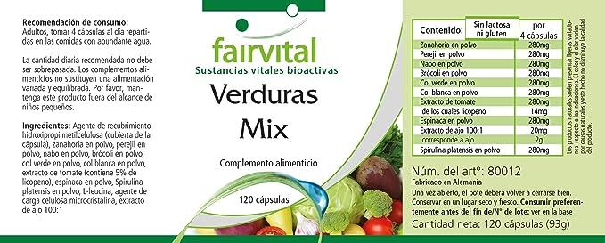 Verduras Pur - para 1 mes - VEGANO - Alta dosificación - 120 cápsulas - 10 variedades vegetales: Amazon.es: Salud y cuidado personal
