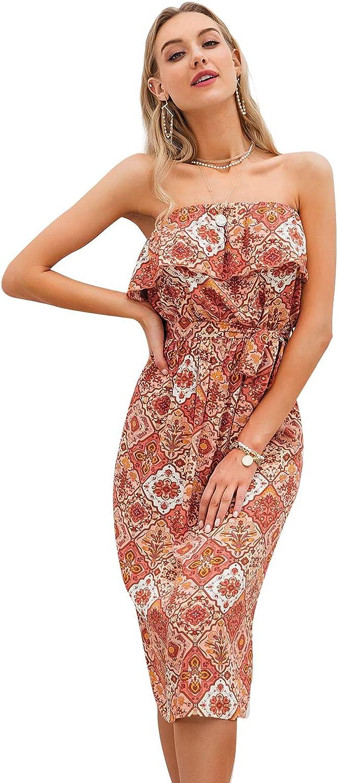Simplee Women's Off Shoulder Floral Dress Strapless Midi Long Summer Dress with Belt