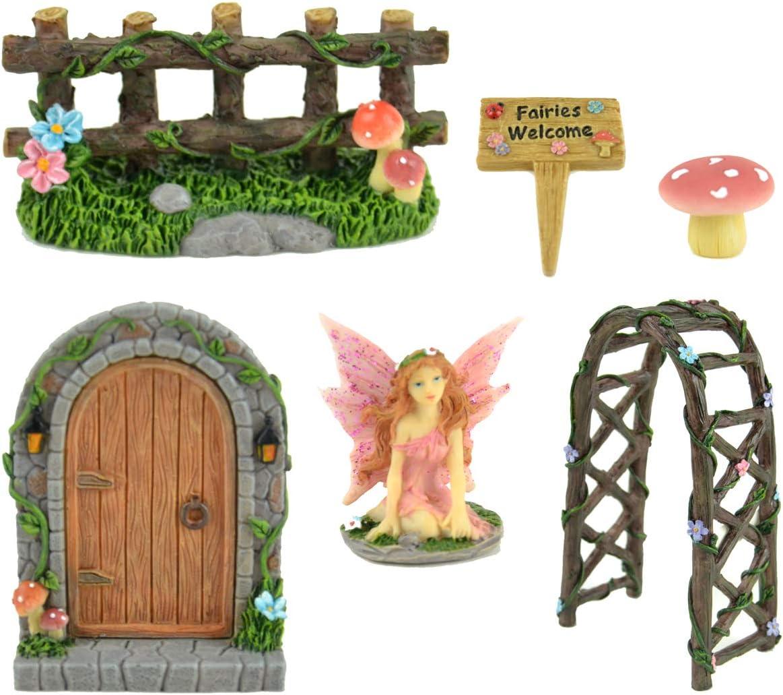 Midwest Design Imports, Inc. Miniature 6 pc Fairy Garden Kit - Door, Fairy, Sign, Arbor, Fence, and Mushroom