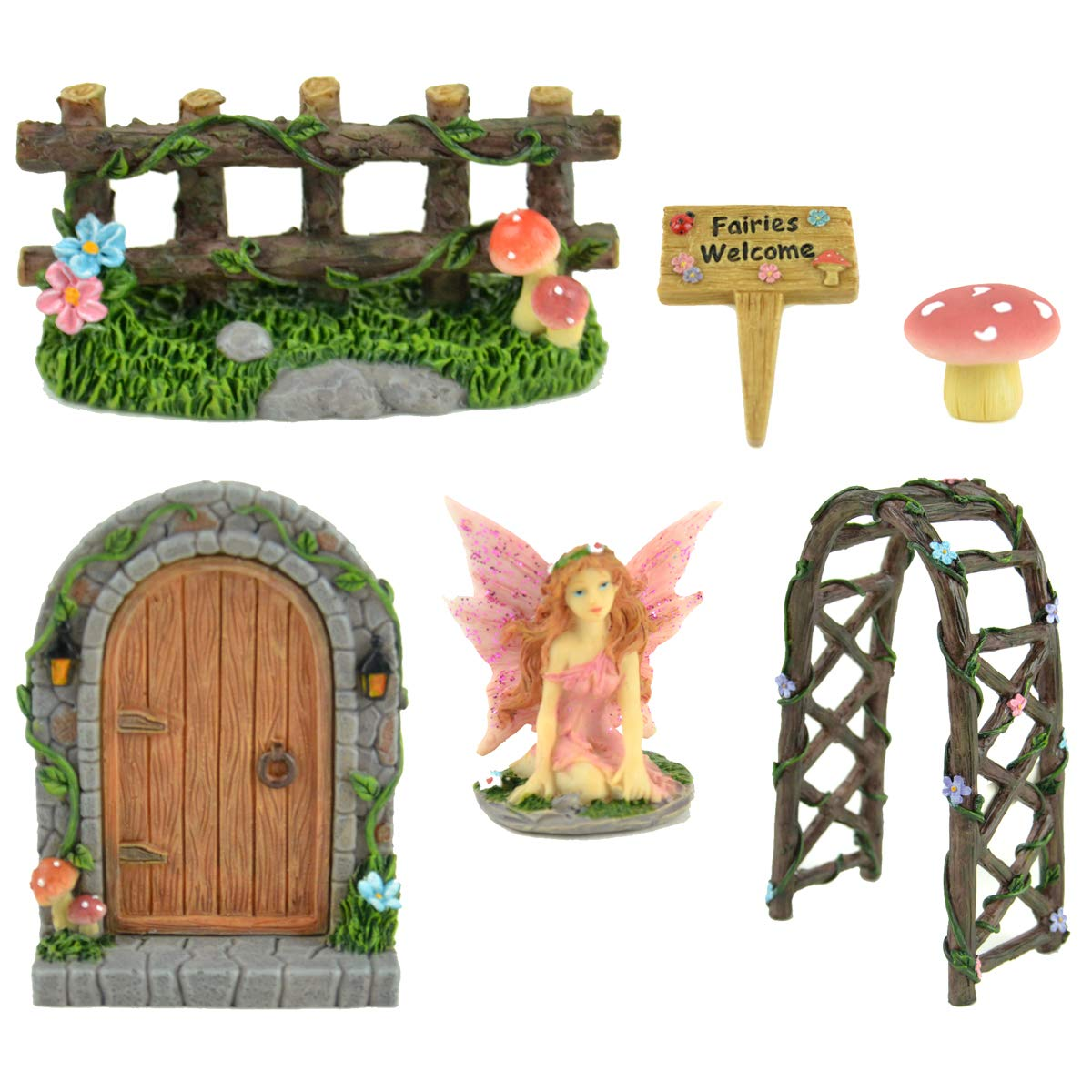 Midwest Design Imports, Inc. Miniature 6 pc Fairy Garden Kit - Door, Fairy, Sign, Arbor, Fence, and Mushroom