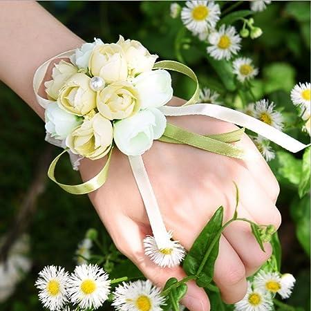 Bouquet Sposa Bracciale.Bracciale Cinturino Fatto A Mano Con Rose E Fiori Artificiali Con