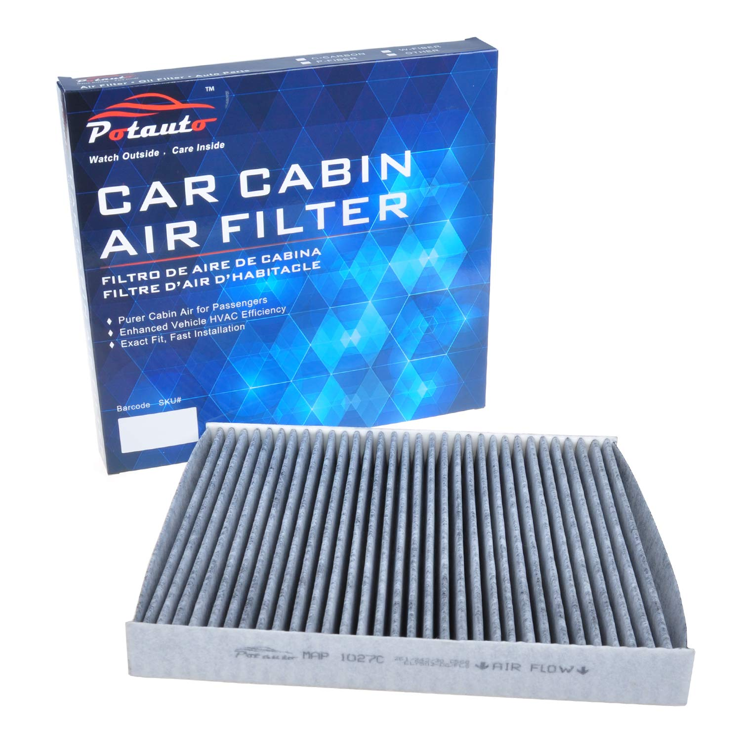 POTAUTO MAP 1027C Replacement Activated Carbon Car Cabin Air Filter for DODGE CF11183 Grand Cherokee JEEP DODGE Durango