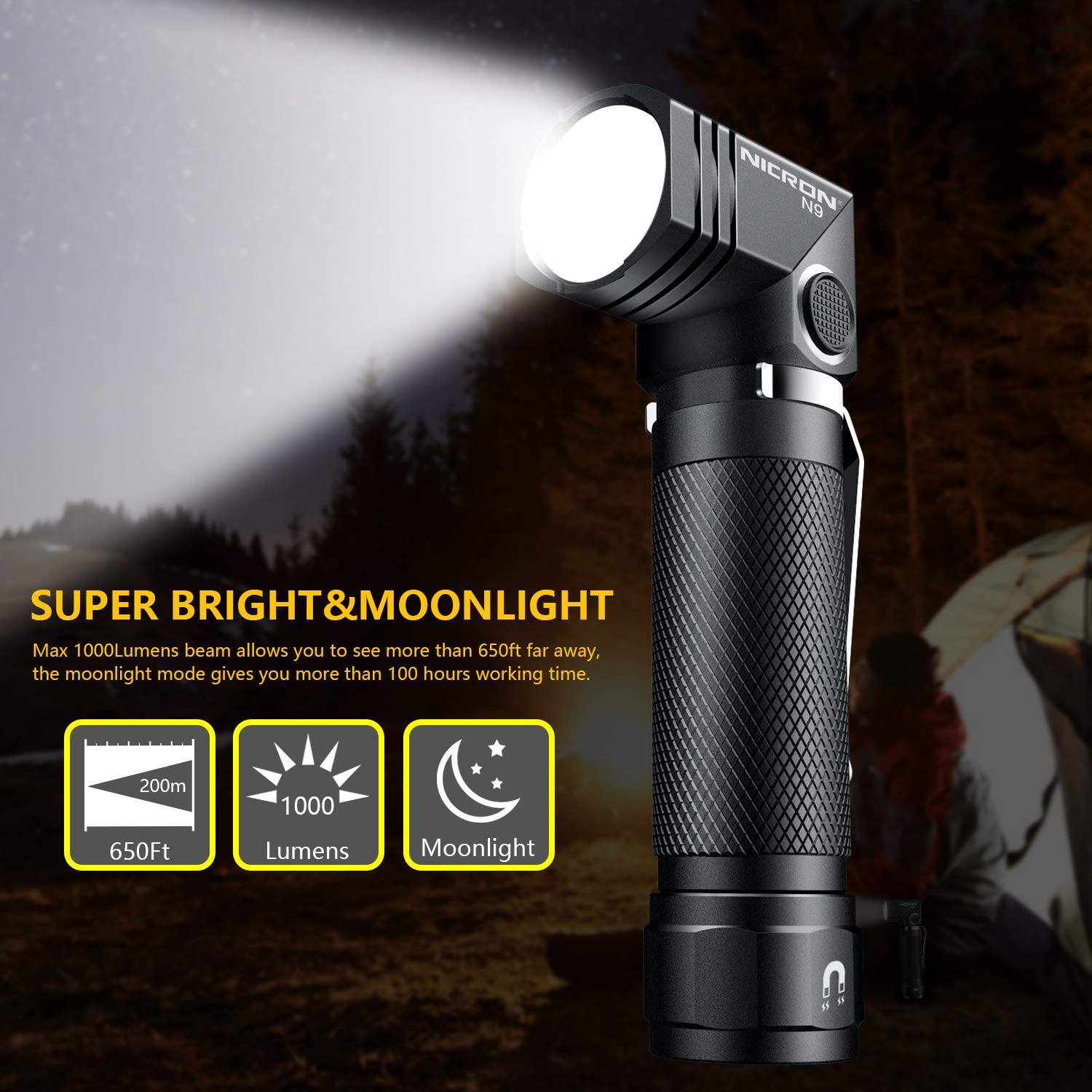 NICRON N9,6 mode Super Bright LED 1000 lumen,90 Degree Rotate,magnet tail,IP65 Waterproof for Outdoor,Camping,Everyday Home use Not Including Battery Flashlight,18650 flash light