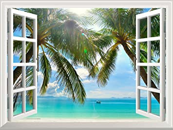 wall26 removable wall sticker wall mural beautiful sunny beach on a tropical island with
