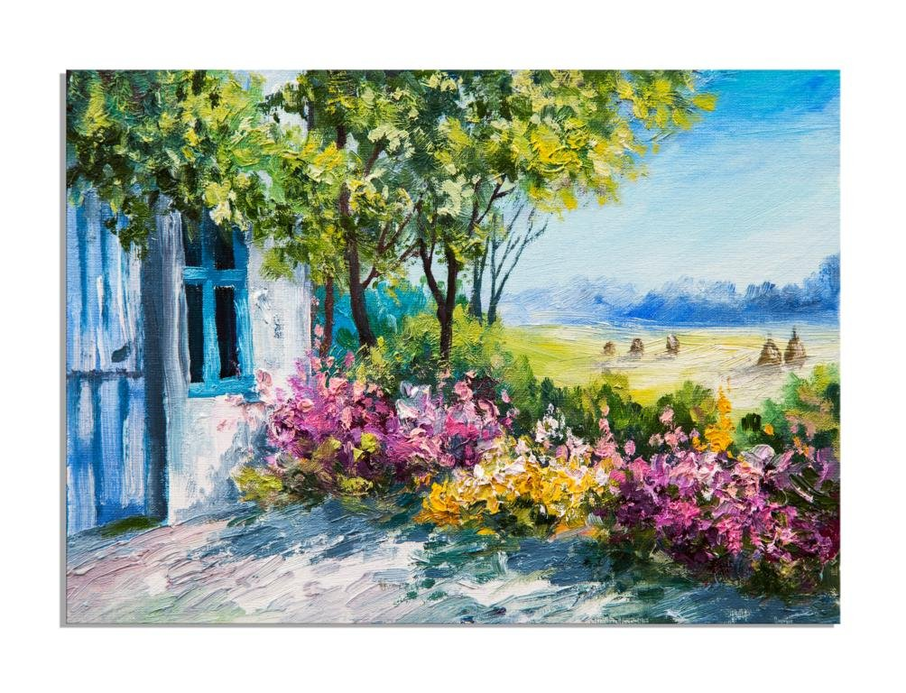 Deinebilder24 Foto auf Leinwand - 60 x 80 cm - Ölgemälde Garten am Haus Bunte Blaumen Sommer Landschaft B01MSZMDU5 | Um Eine Hohe Bewunderung Gewinnen Und Ist Weit Verbreitet Trusted In-und   | Vogue  | Innovation