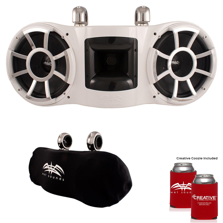 濡れSounds Rev 410 Swivelクランプタワースピーカーwith濡れSounds Suitzスピーカーカバー – ホワイト B074VHBG5D