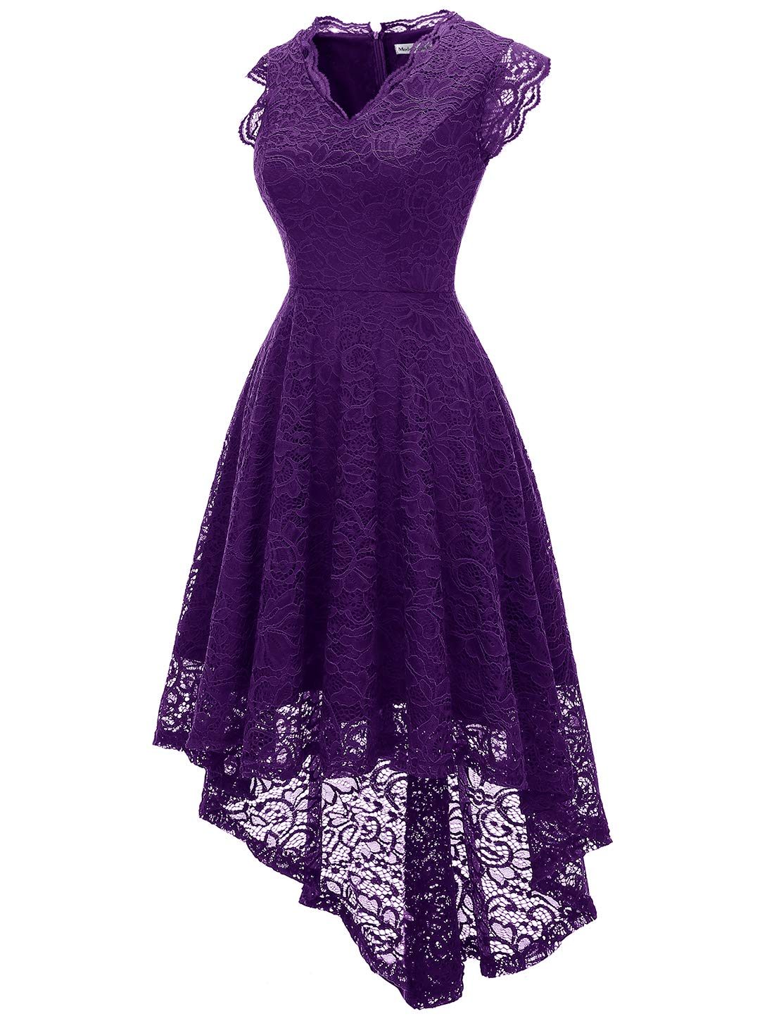 Modecrush Womens Ruffle Sleeve Formal Hi Low Floral Lace Cocktail Party Dresses Xl Purple