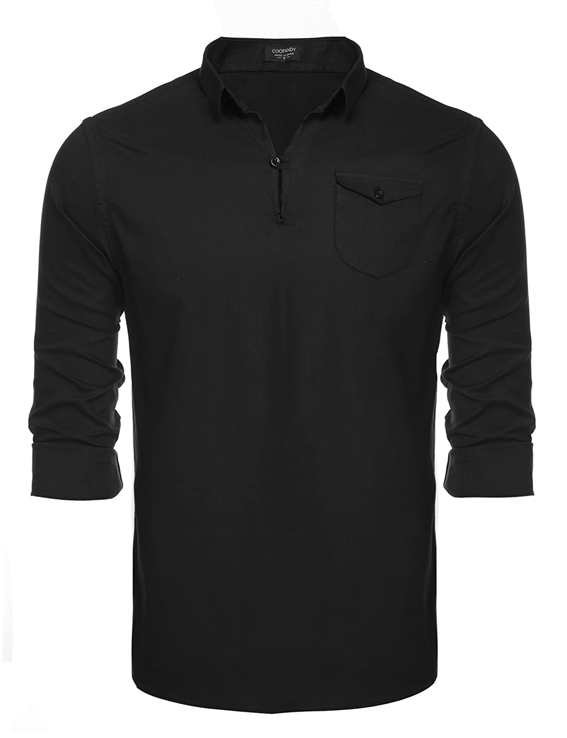 Coofandy Mens Henley Neck Shirt Long Sleeve Shirts Casual V Neck