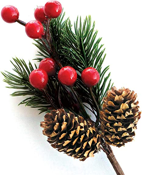 Christmas Artificial Branche Pine Berry Cone Fake Flowers Home Weddnig Decor UK