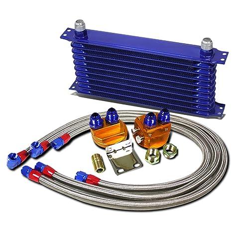 Universal azul aluminio 10-row enfriador de aceite del motor ...