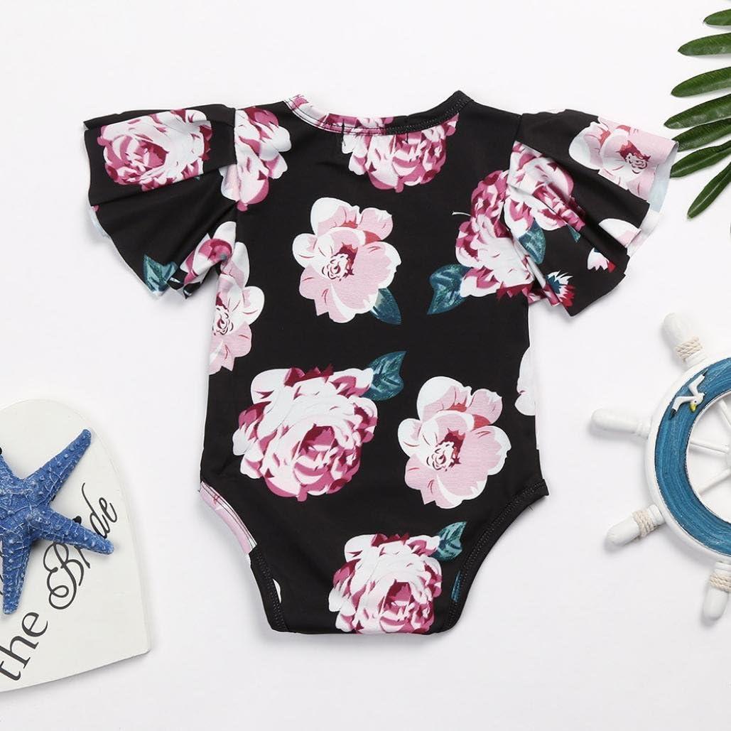 Efaster Infant Baby Girls Clothes Flying Sleeve Floral Print Jumpsuit Romper