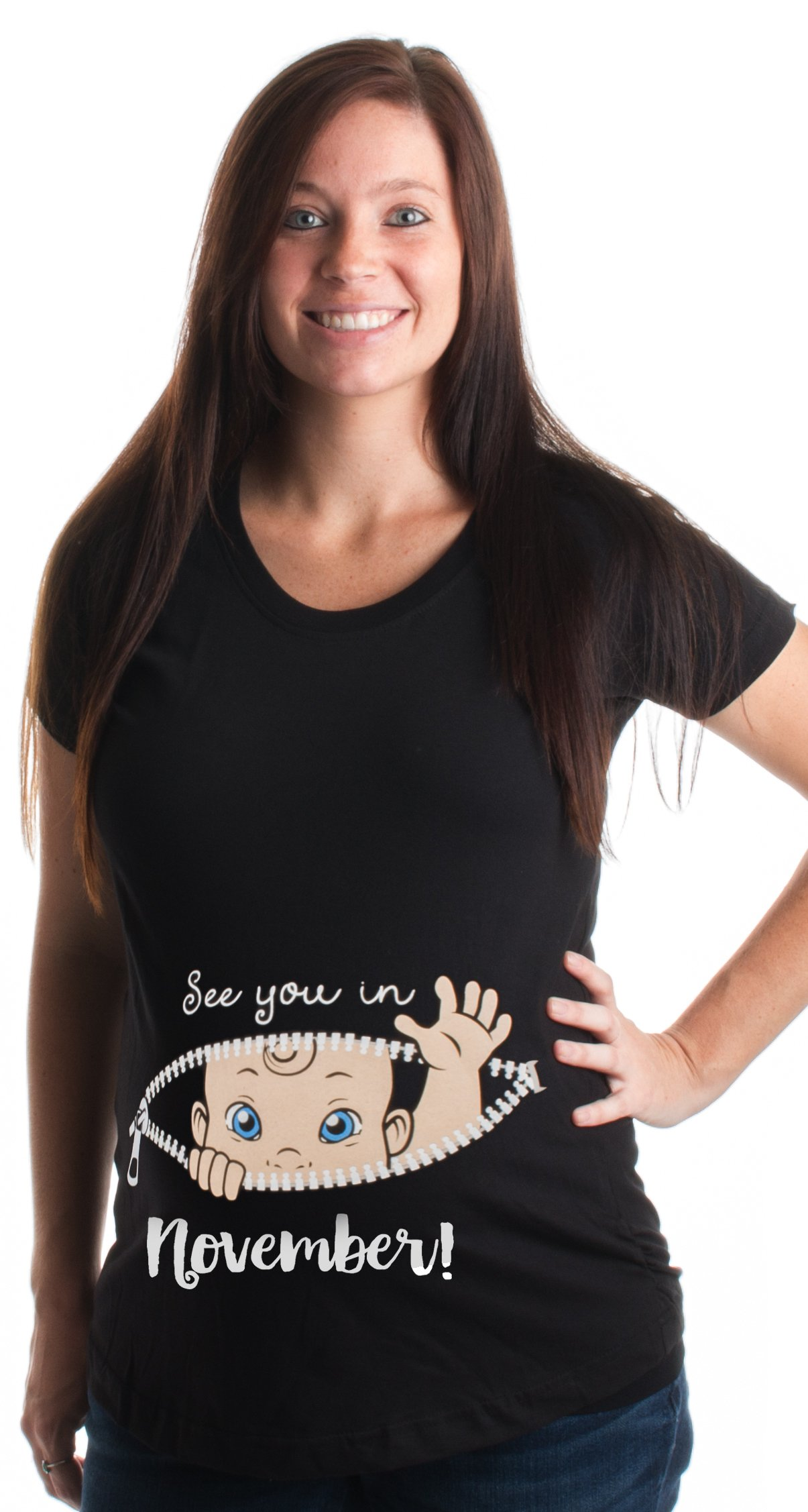 Ann Arbor T-shirt Co. See You In November! | Cute Pregnancy Humor, New Mommy Scoop Neck Maternity Top-(Matern,M)