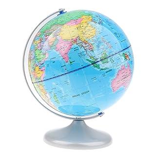 D DOLITY Giocattolo Mappa Mondo Globo Geografica Basamento Metallo Decorazioni Tabella Scrivania Plastica Metallo - A