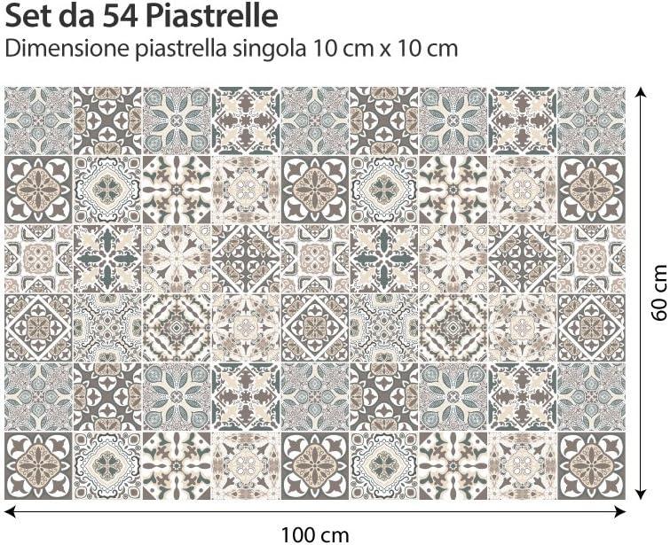 Made in Italy Horta Adesivi per Piastrelle Formato 10x10 cm PS00025 Adesivi in PVC per Piastrelle per Bagno e Cucina Stickers Design Confezione 54 Pezzi