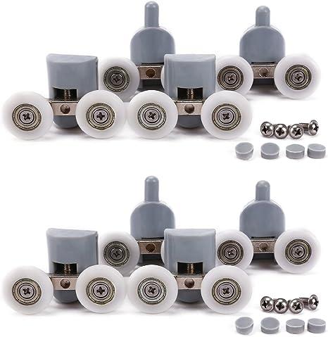 8Pcs Double Shower Door Top /& Bottom Rollers//Runners 25mm Wheel Diameter Durable
