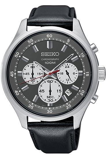 Seiko Reloj Cronógrafo para Hombre de Cuarzo con Correa en Cuero SKS595P1: Seiko: Amazon.es: Relojes
