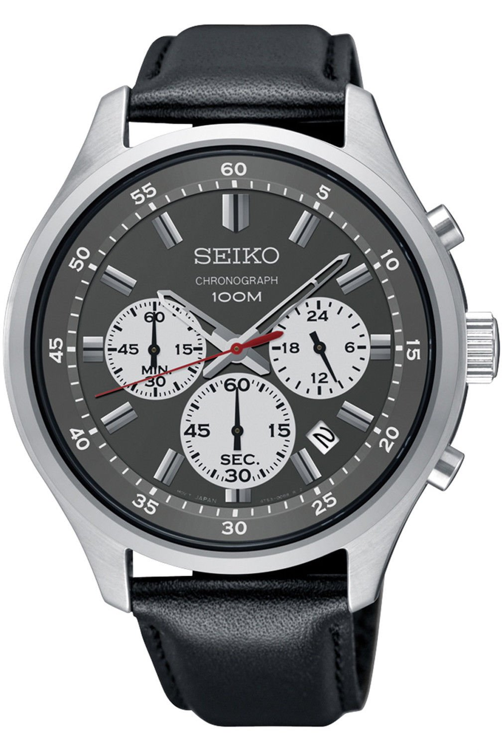 Seiko Chronograph Black Dial Leather Mens Watch SKS595 by Seiko