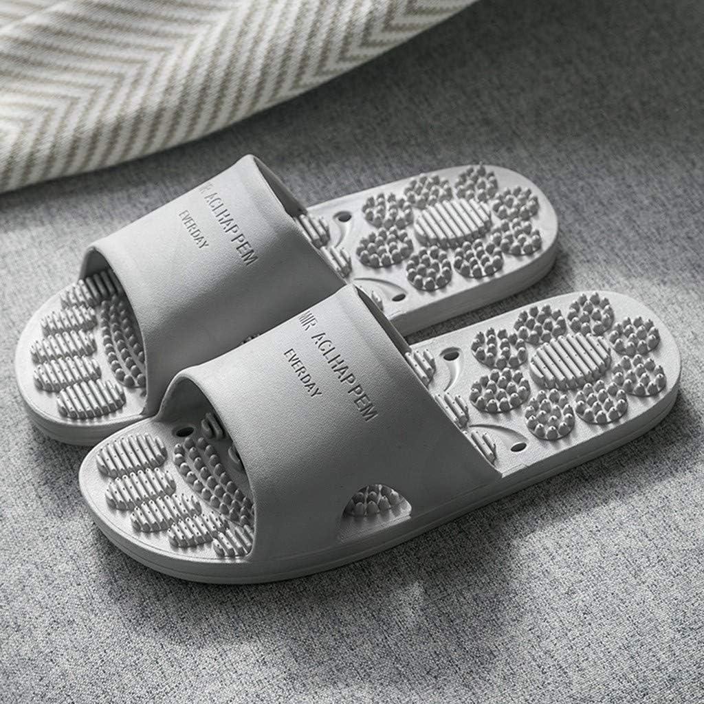 Bazhahei Pantoufles De Massage Antidérapantes Femmes Hommes Intérieure Extérieure Tongs Chaussures Salle Bain Plage Maison Accueil Gris