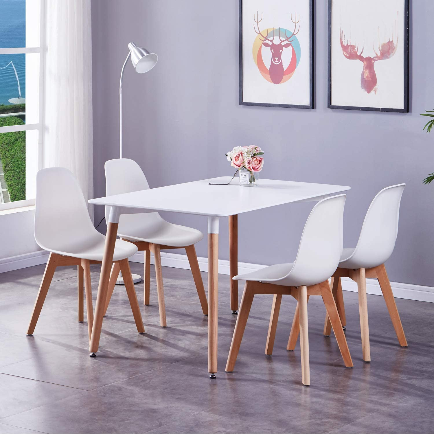 Goldfan Dining Table And Chairs Set 4 Wood Style Rectangular Kitchen Table And 4 Tulip Chairs Dining Table Set Office Lounge Dining Kitchen All White Amazon Co Uk Kitchen Home