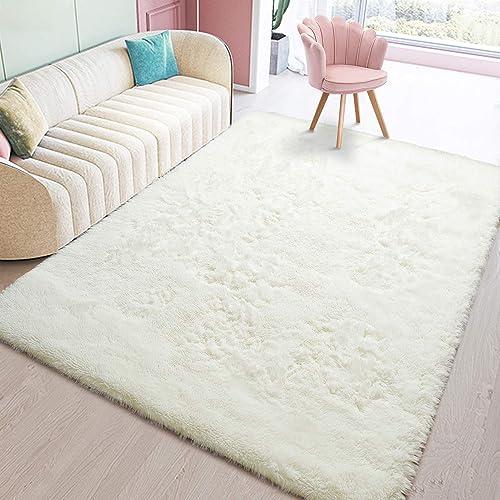 Toneed Cream Fluffy Bedroom Area Rug 5 x 8 Feet Clearance Modern Area Rug