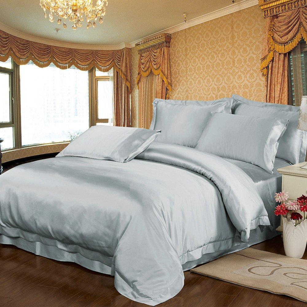 Lilysilk Seide Bettbezug Maulbeerseide 22 Momme (155x200cm, Silber Blau)