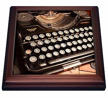 3dRose Continental - Azulejos para máquina de Escribir (8 por 8 Pulgadas, cerámica, marrón, 19,05 x 2,22 x 19,05 cm): Amazon.es: Hogar