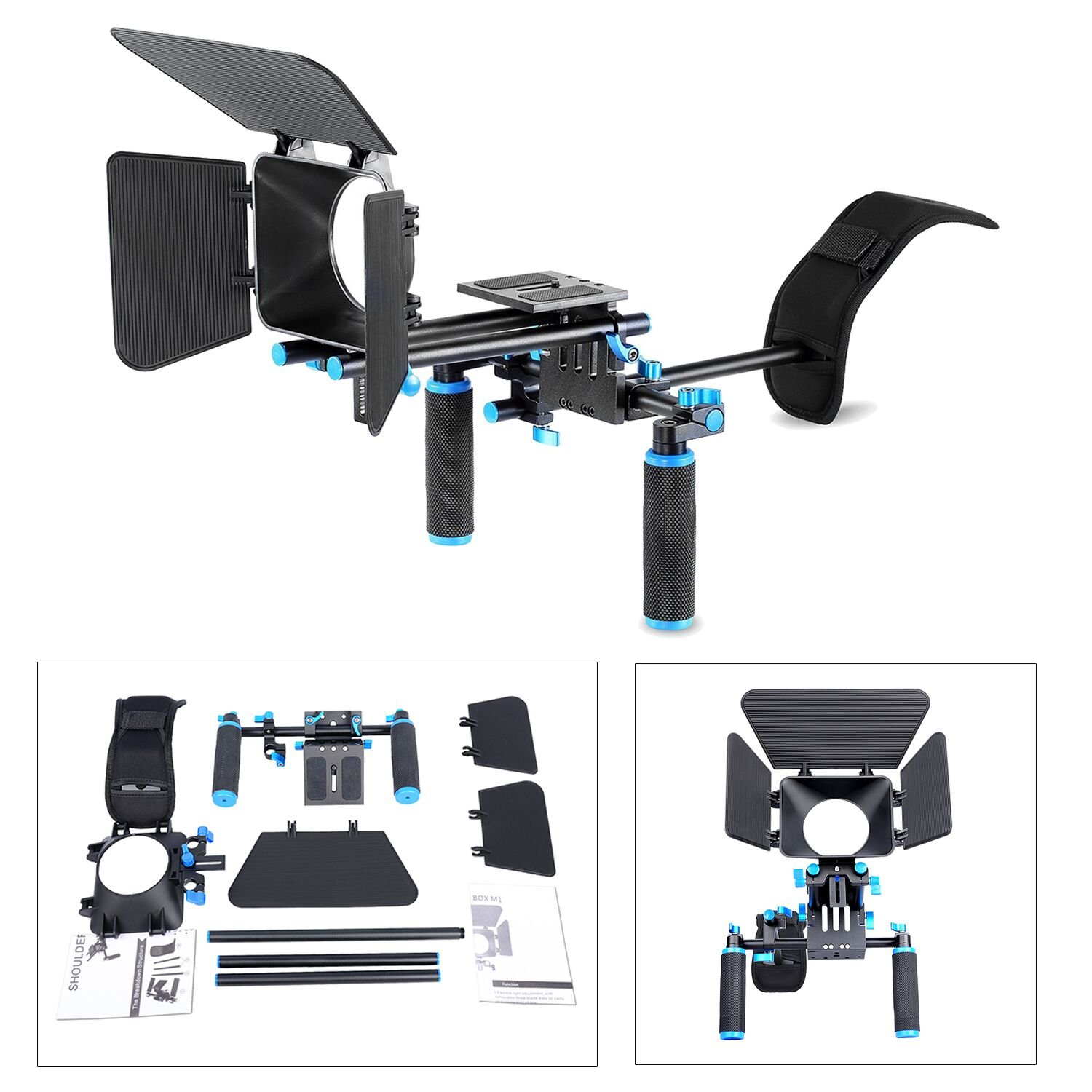 Movie Video Making Rig Set System Kit (1) Shoulder Mount+(1) 15mm Rail Rod System+(1) Matte Box Compatible for Camcorder DSLR Camera Such as Canon Nikon Sony Pentax Fujifilm Panasonic by YaeCCC
