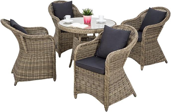 TecTake Salon de jardin en haute qualité cadre en aluminium 4x chaise 1x table résine tressée poly rotin ensemble + 8x coussins imperméable