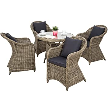 TecTake Salon de jardin en haute qualité cadre en aluminium 4x chaise 1x  table résine tressée poly rotin ensemble + 8x coussins - imperméable - ...