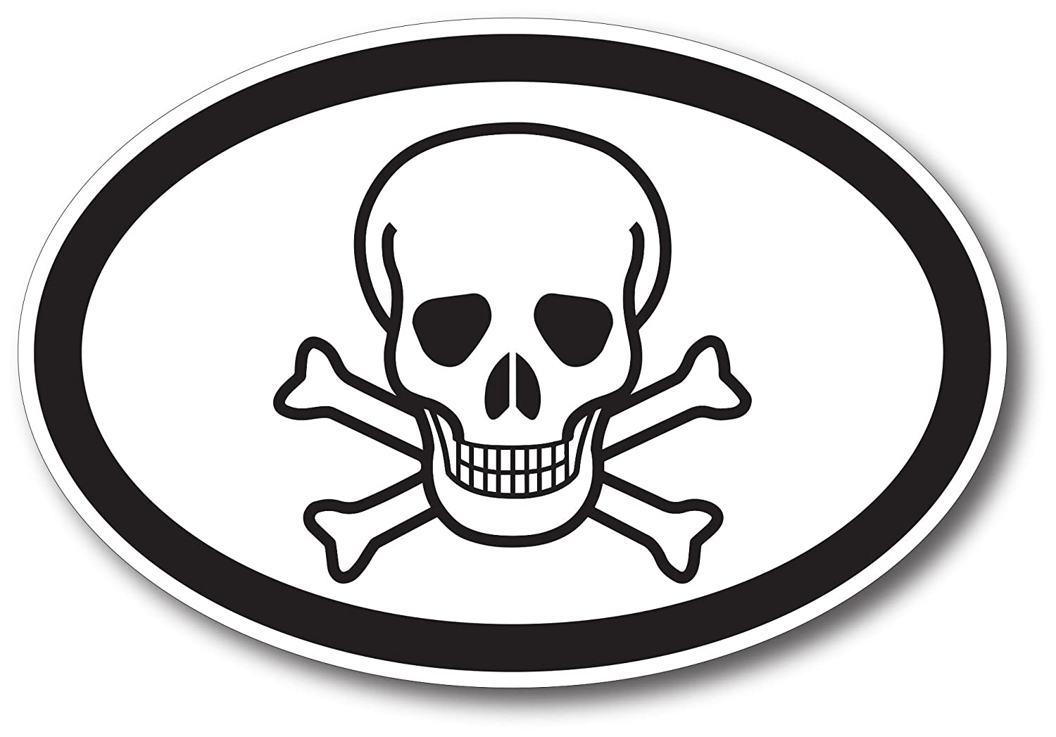 Skull and Crossbones Car Magnet Decal 4 x 6 Oval Heavy Duty for Car Truck SUV Waterproof