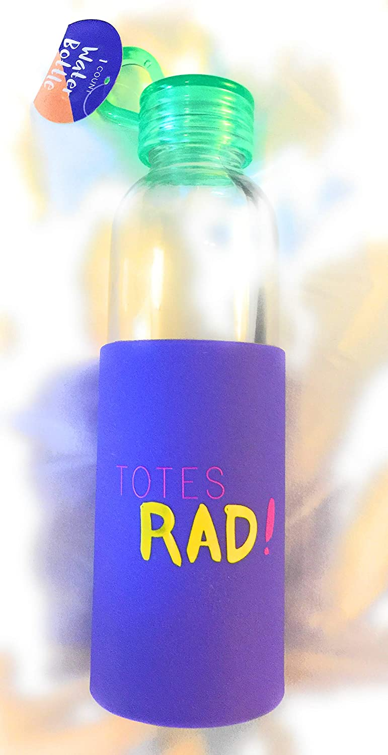 Made For Retail Totes Rad Purple Glass Drinkware Water Bottle 16.9 oz