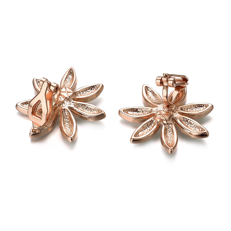 Yoursfs Flower Clip On Earrings for Women Non Pierced Ears Rose Wedding jewelry (White Clip Earrings) … by Yoursfs (Image #7)