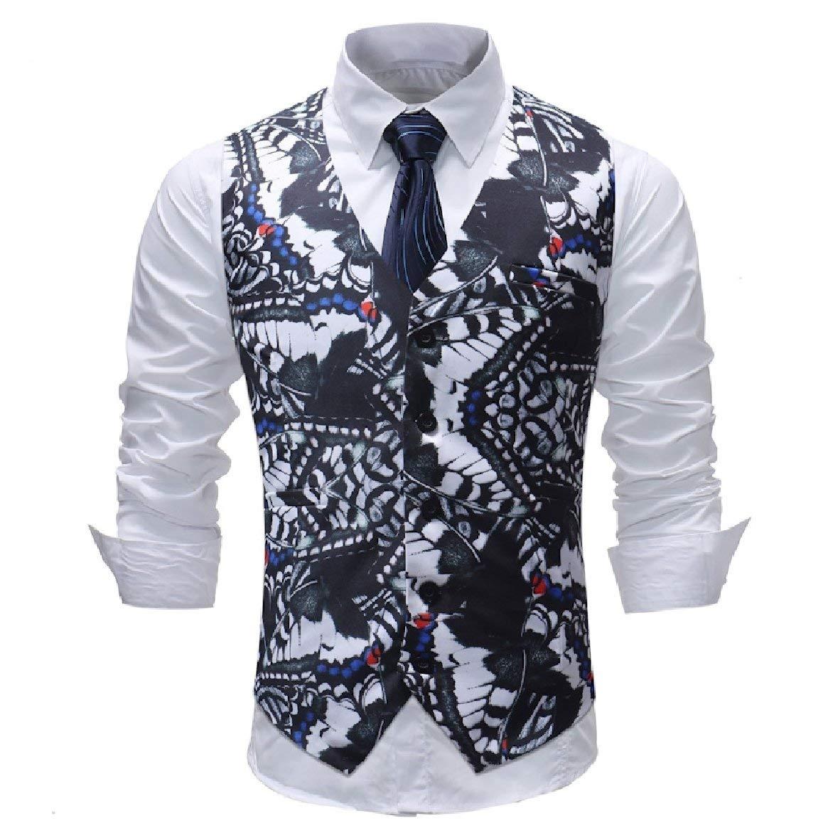 Abetteric Mens Bussiness Casual Plus-Size V-Neck Open Front Printed Suit Vest