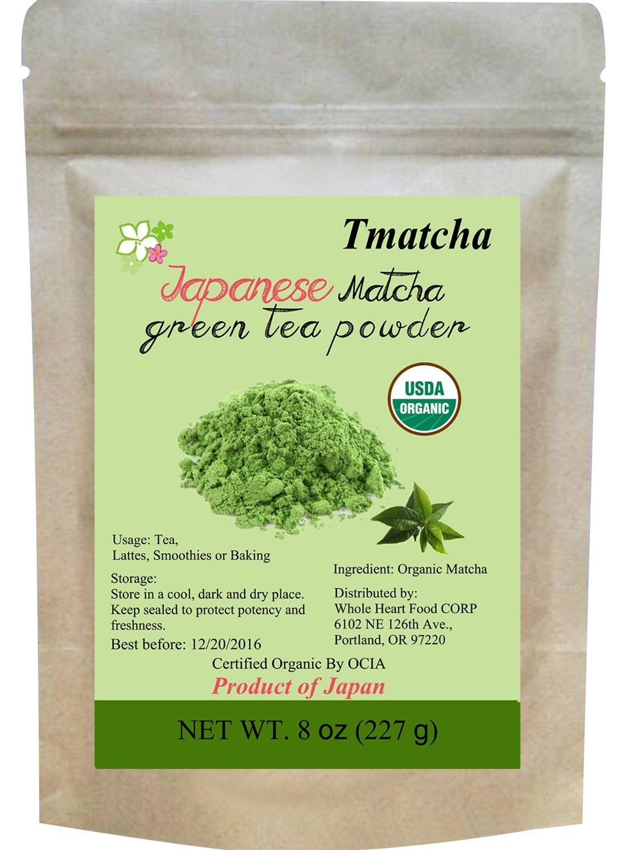 Tmatcha Organic Japanese Matcha Green Tea Powder USDA Organic Certification Culilary Grade Gluten Free and Vegan 8 oz(227 g)