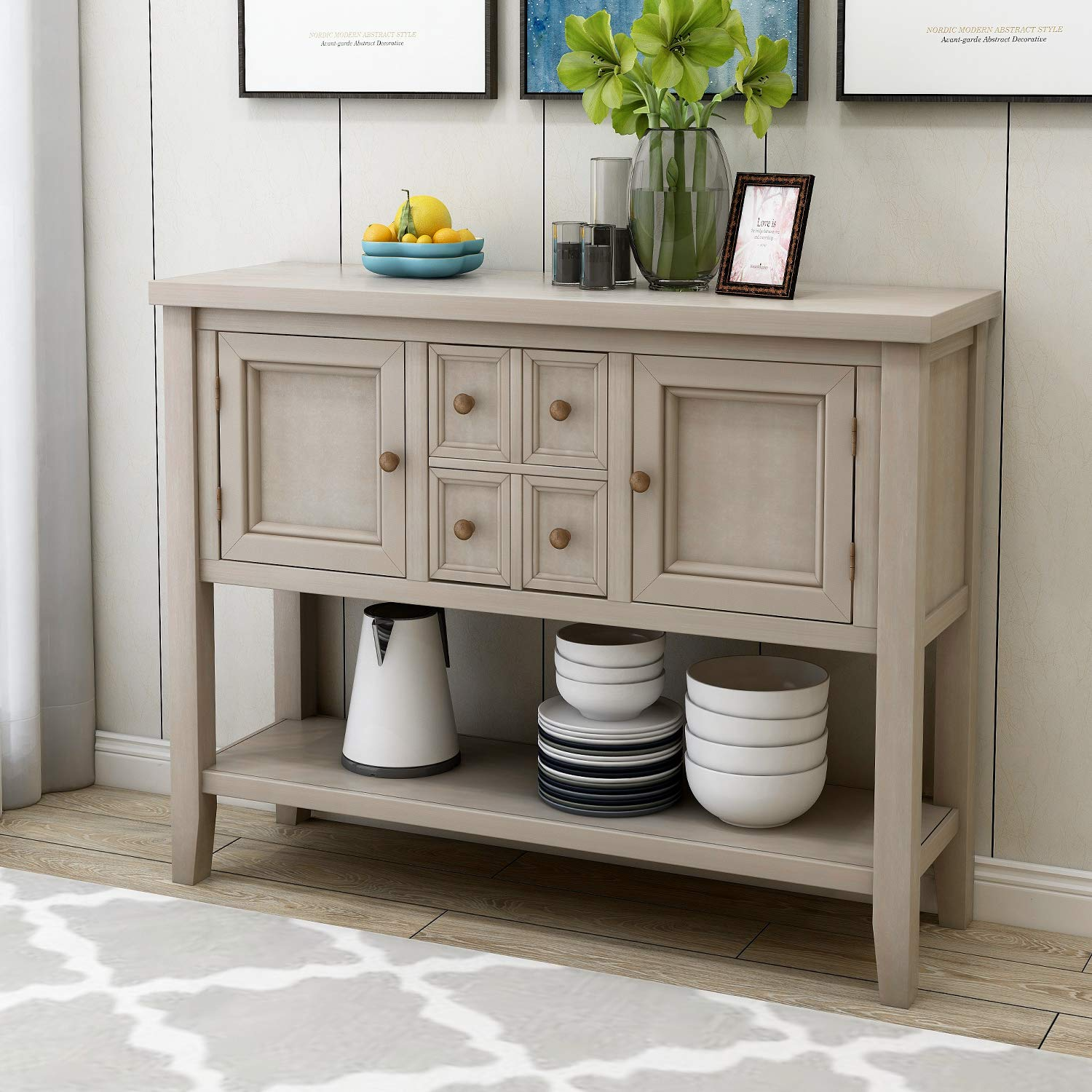 HM HOME Console Table Buffet Table, Sofa Table Sideboard with 4 Storage Drawers 2 Cabinets and Bottom Shelf for Entryway, Hallway and Living Room (Antique Gray) by HM HOME