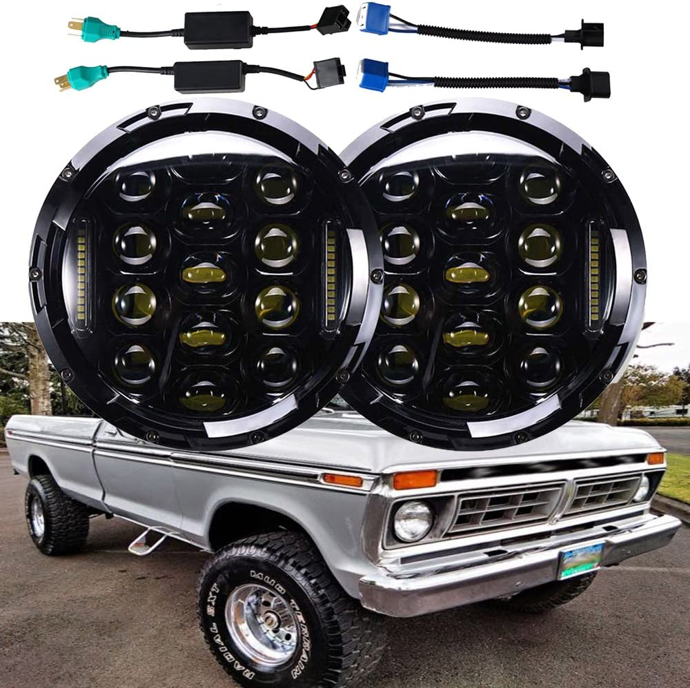 Amazon Com H6024 7 Inch Round Led Headlights For Ford F150 F 150 1975 To 1979 Super Bright 6000k White Drl Lights High Low Sealed Beam Conversion Kit Package Of 2 Automotive