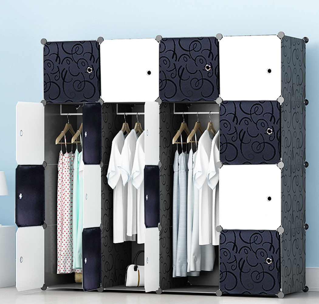 JOISCOPE Portable Wardrobe for Hanging Clothes, Combination Armoire, Modular Cabinet for Space Saving, Ideal Storage Organizer Cube for Books, Toys, Towels(16-Cube)