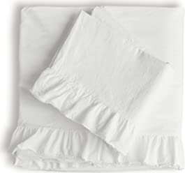 Piu Belle Shabby Chic Ruffled 4pc Sheet Set King 100% Cotton Cottage French Country Style
