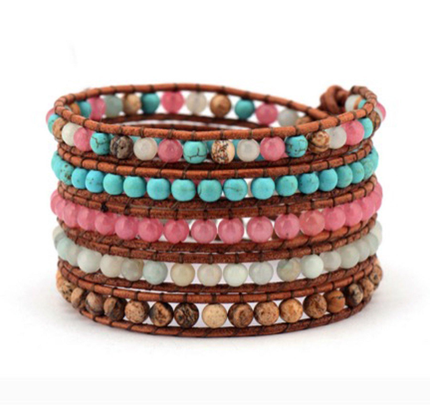 Turquoise Amazonite Jasper Stone Wrap Bracelet Brown Leather 5 Leyers Boho Style