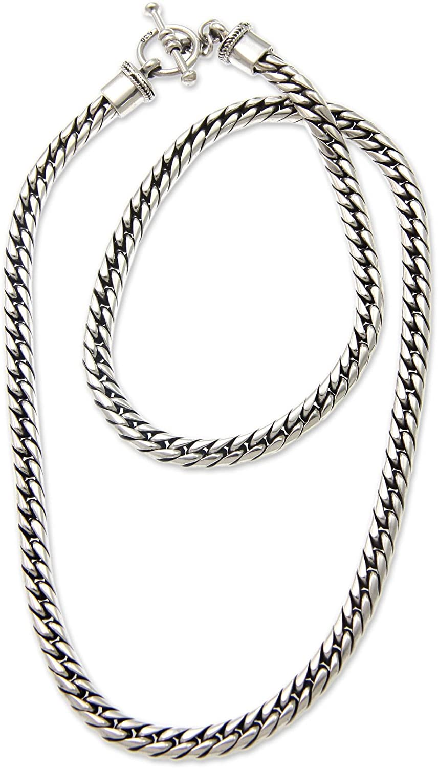 """NOVICA .925 Sterling Silver Braided Chain Men's Necklace with Toggle Clasp, 21.75"""", Sleek'"""