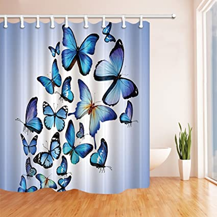 HiSoho Butterfly Decor Beautiful Blue Butterflies Dancing In Light Shower Curtains Polyester Fabric Waterproof