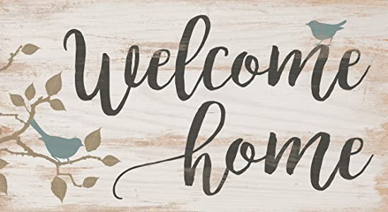 P. GRAHAM DUNN Welcome Home Birds Whitewash 5.5 x 10 Solid Wood Plank Wall Plaque Sign