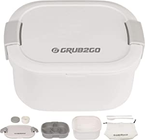 GRUB2GO Bento Box & Salad Lunch Container | Free Utensils & Carry Bag | Largest 58 Oz Dual Layer Bowl + 4 Compartment Tray + Dressing & Sauce Jar