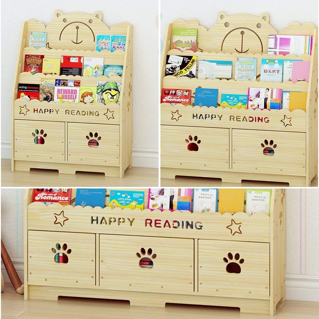 60cm LLRYN Kids Birch Hardwood DoubleSided Book Display Display Display Stand for Kids, Shelves, Natural (Size   60cm) a59311