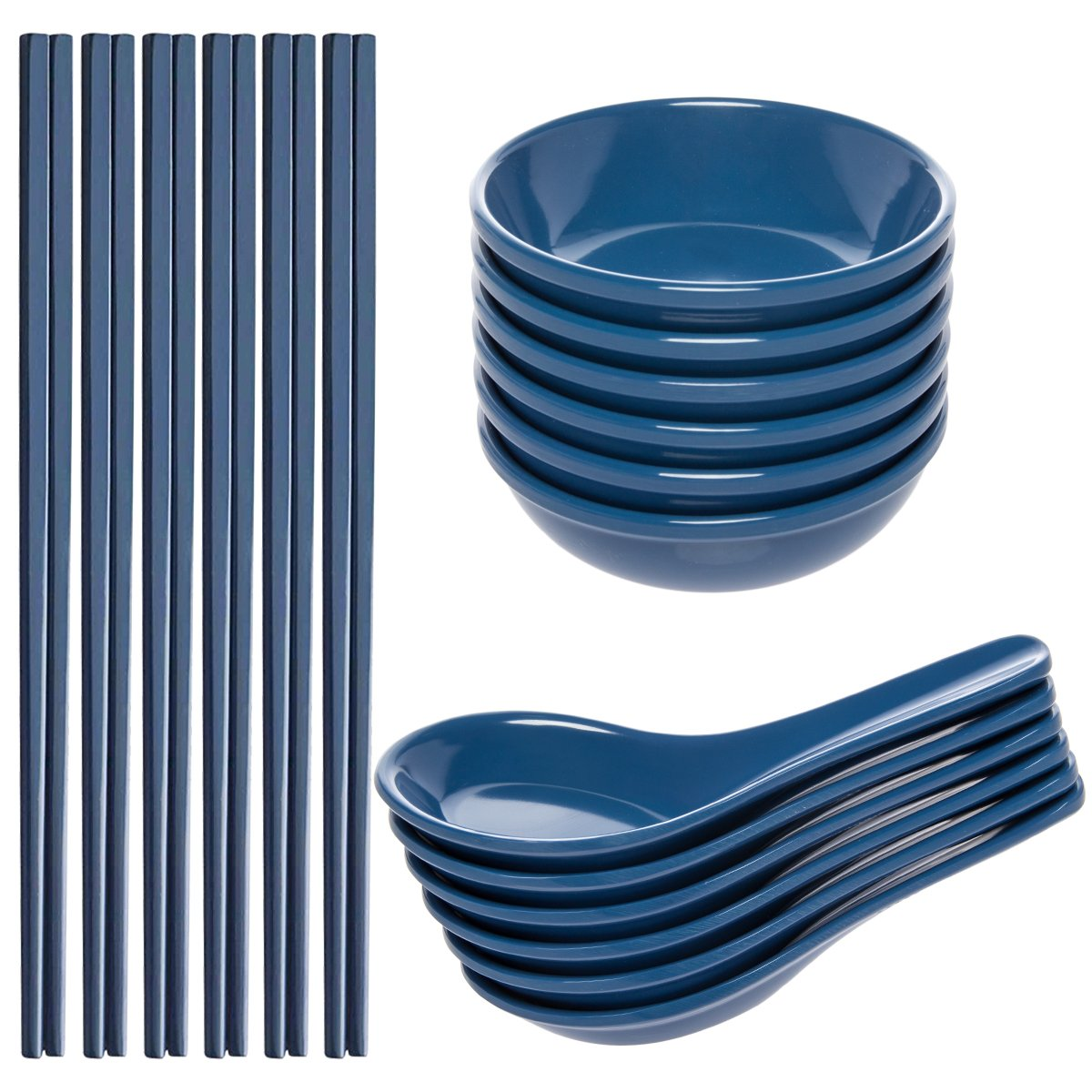 Zak! (24 Piece) Asian Reusable BPA-Free Plastic Utensils Set With Chopsticks, Soup Spoons For Wonton Pho & Ramen, & Small Bowl Dishes For Dipping Sauces Like Soy & Wasabi by Zak!