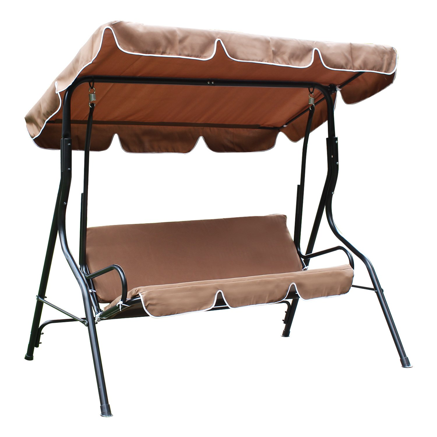 Homebeez Outdoor Chair Canopy Awning Porch Swings Bench, for Two or Three People Brown/Coffee