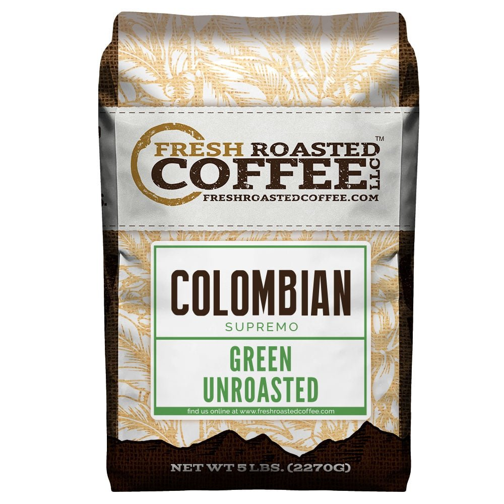 Fresh Roasted Coffee LLC, Green Unroasted Colombian Supremo Coffee Beans, 5 Pound Bag by FRESH ROASTED COFFEE LLC FRESHROASTEDCOFFEE.COM