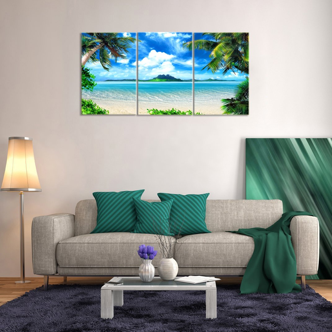 KALAWA Wall Art Sea Beach Seascape Canvas Prints Landscape Pictures Paintings on Modern Stretched and Framed Canvas 3 Panels Pictures Artwork for Home Decor 16 W x 24 H