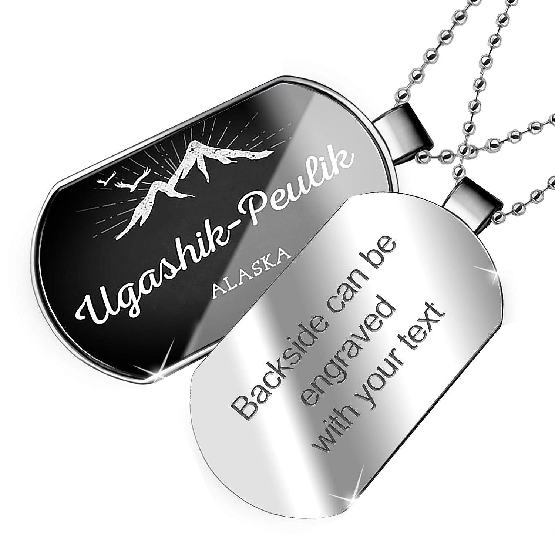 Alaska Dogtag Necklace NEONBLOND Personalized Name Engraved Mountains Chalkboard Ugashik-Peulik